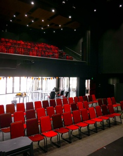 Looking back from the stage with the operable wall open