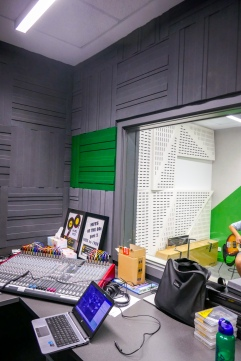 A recording studio with visual access to three rooms