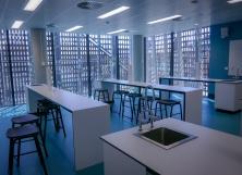 Long desks in the serviced classrooon