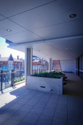 A large balcony directly accessed off a class space
