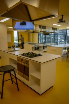 The cooking learning zone with a mix of furniture