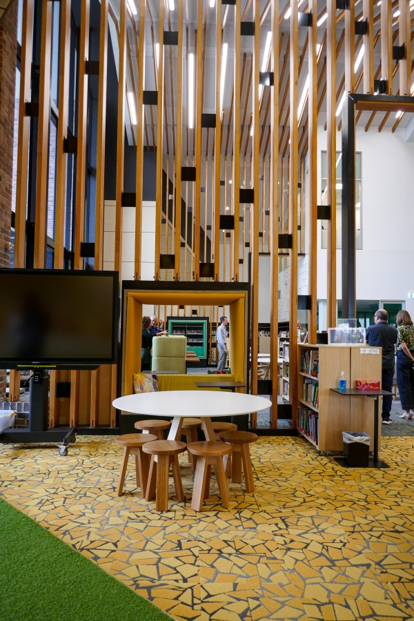 Ormiston College Centre for Learning and Innovation: The junior library is lower scale