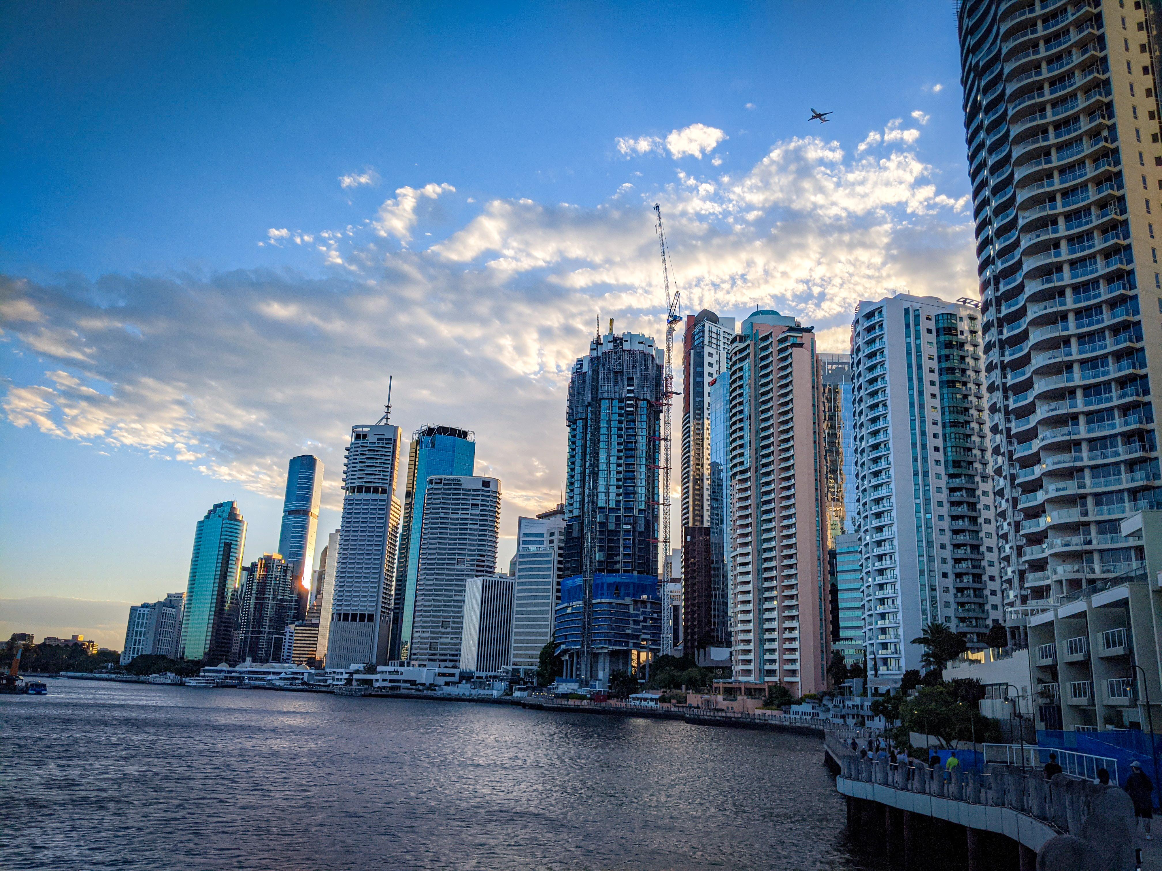 The Brisbane CBD and Brisbane River from the top of the Brisbane Riverwalk