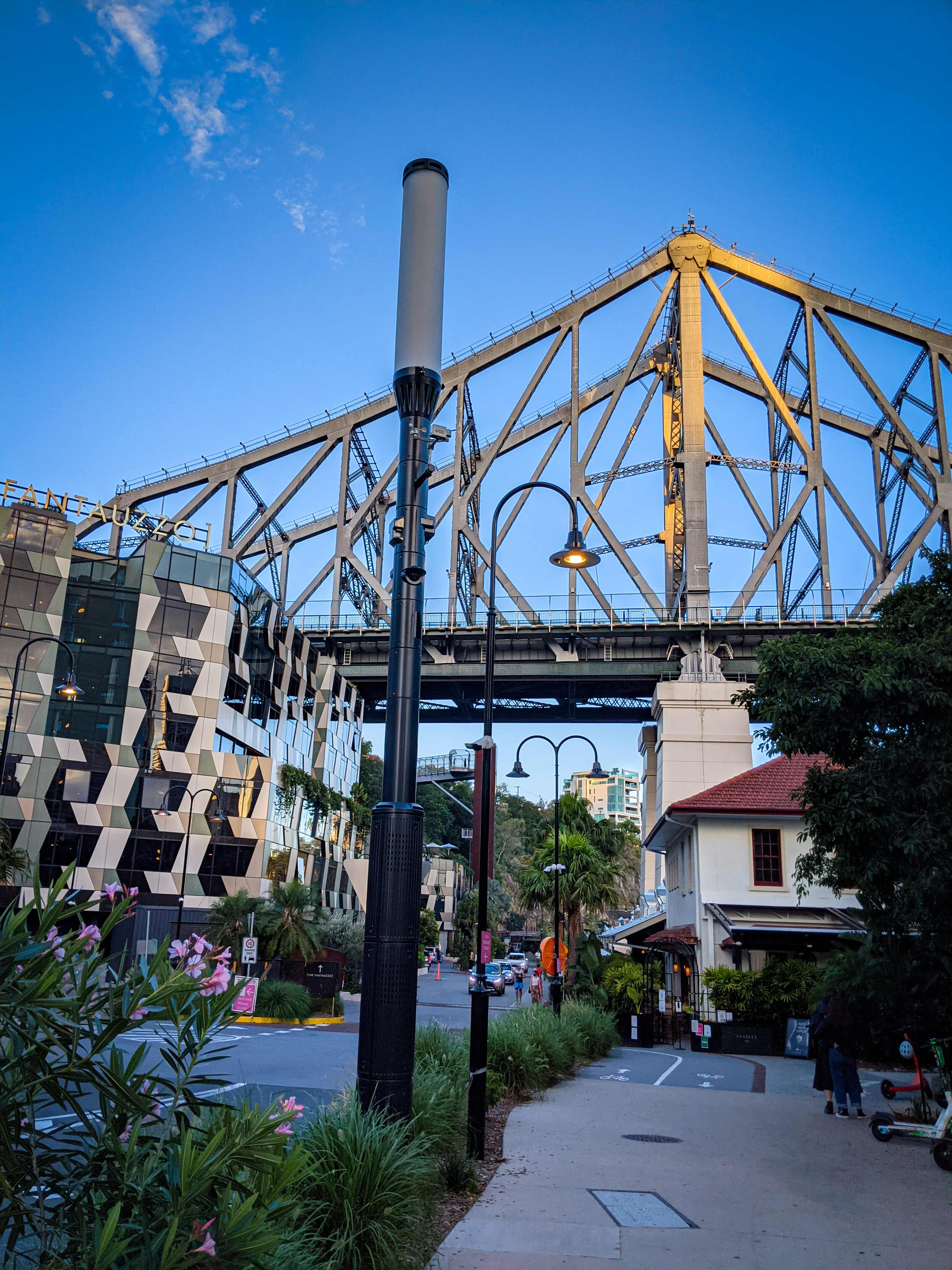 The western end of Howard Smith Wharves, with new, old and refurbished buildings under the Storey Bridge
