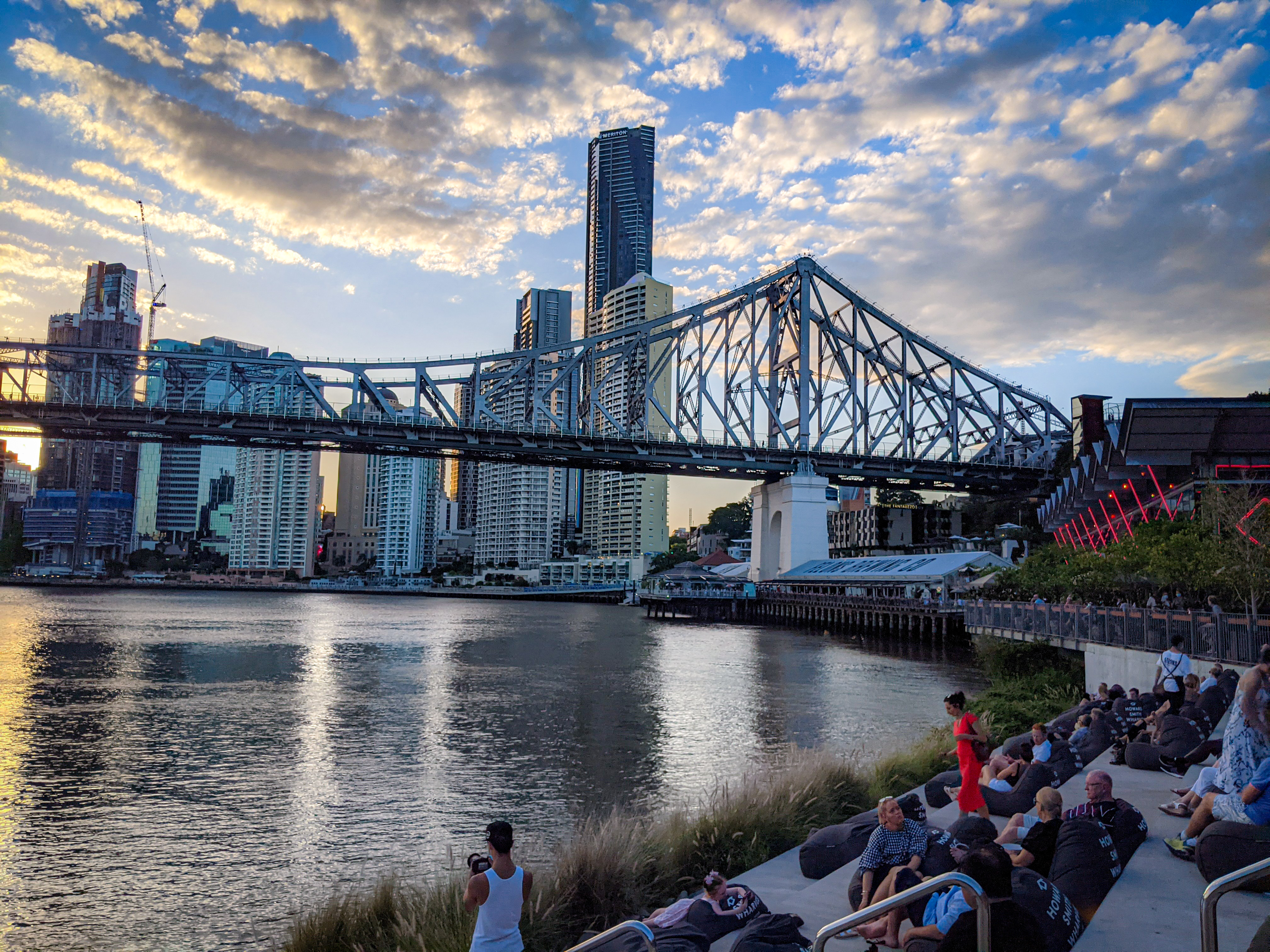 A new -to me- seating area at Howard Smith Wharves where you can recline and watch the sun set behind the Brisbane CBD