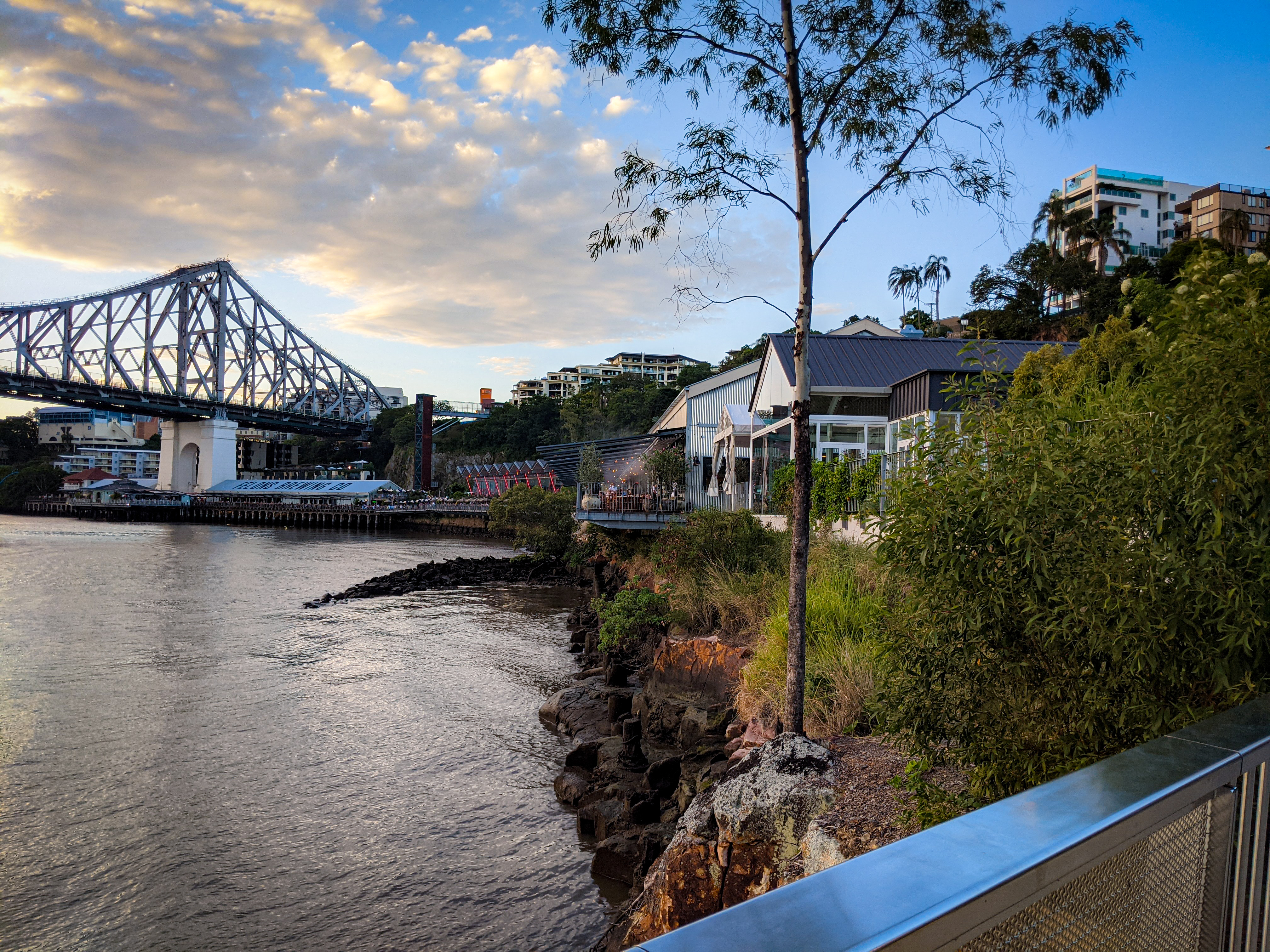 Looking back to the different buildings of Howard Smith Wharves from the New Farm Riverwalk