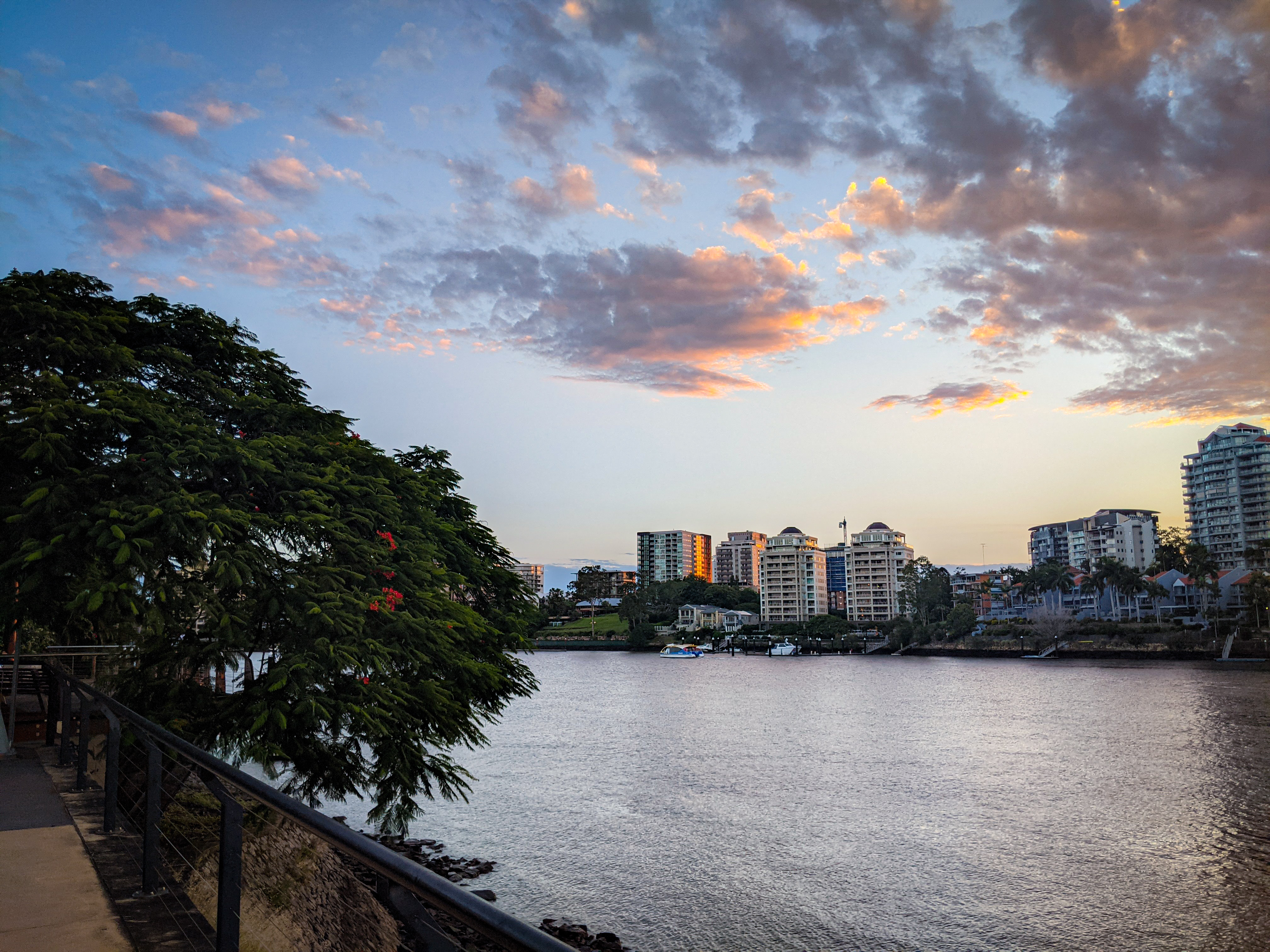 The Brisbane River with small cat ferries