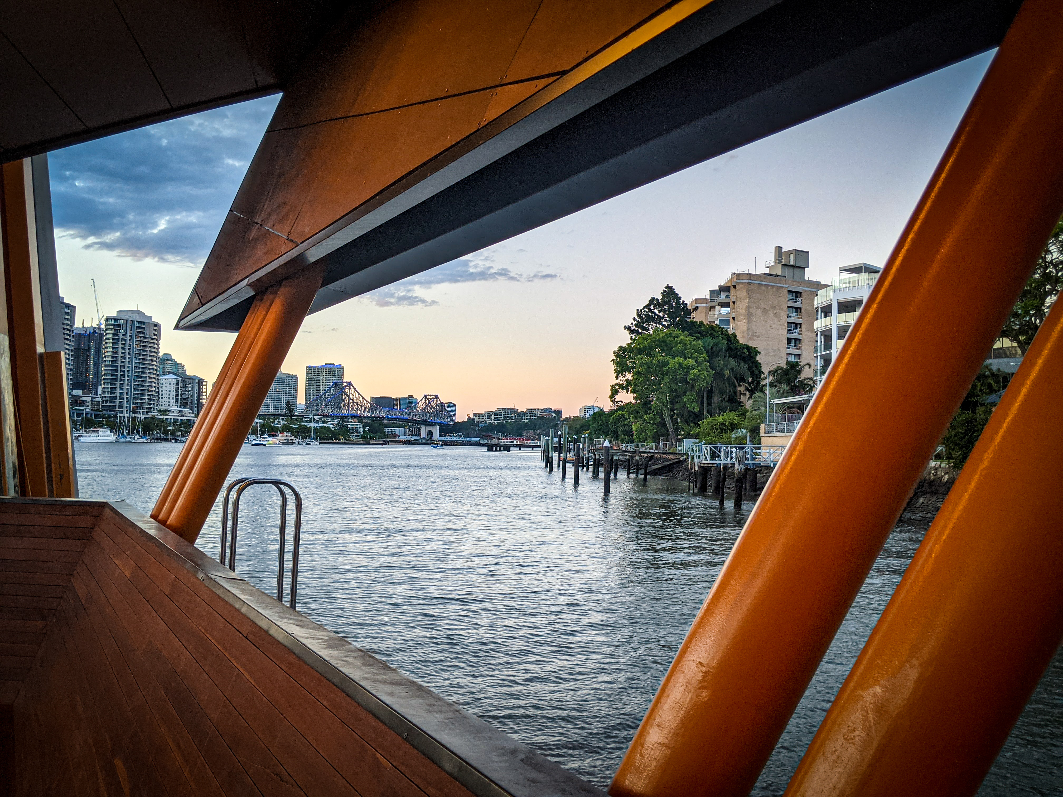 Looking back to the Storey Bridge from the Sydney Street Ferry Stop