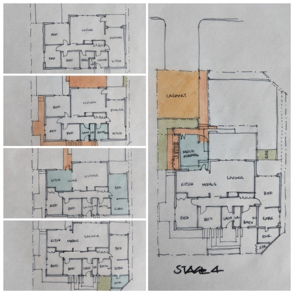 Floor plan sketches of house masterplan